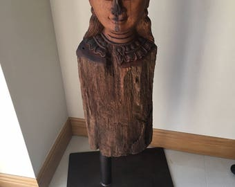 Indonesian hand carved head crafted from Teak on steel frame. Home decor, statue, furniture, decorative statues, home and living