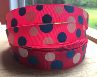 One inch 25mm 1 inchPink Blue White Polka Dot dotted Bright Color Grosgrain Ribbon By The yard BTY