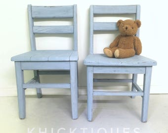 kidsu0027 chairs mix match vintage oak distressed blue with whitewash farmhouse