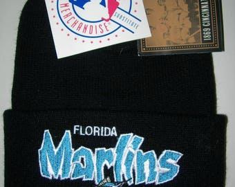 Vintage Florida Marlins MLB baseball big script  beanie by Rossmor ind. ohio new with tags made in usa