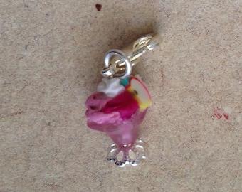 Icecream mini pink, charm, Sundae pendant, necklace, miniature food