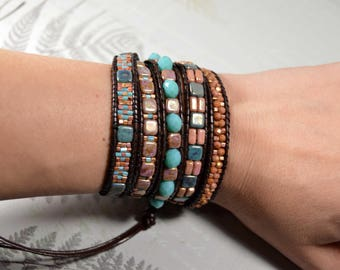 Leather Wrap bracelet, Multi Wrap Bracelet, Bead bracelet, women, boho, bead wrap bracelet, leather bracelet