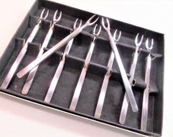 Vintage Seafood Forks Set of 9 in Stainless by SCC