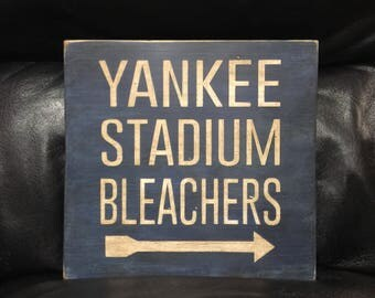 Yankee Stadium Bleachers | New York Yankees | Baseball Sign | Distressed Wood Handmade Sign |  Boys Wall Decor | Baseball Signage | Man Cave