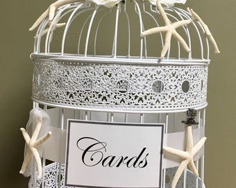 Large White Bird Cage Card Holder, Blush, Rustic, Shabby Chic Bird Cage, Wedding Gift Card Holder, Birdcage, Large Bird Cage, Wedding Cards