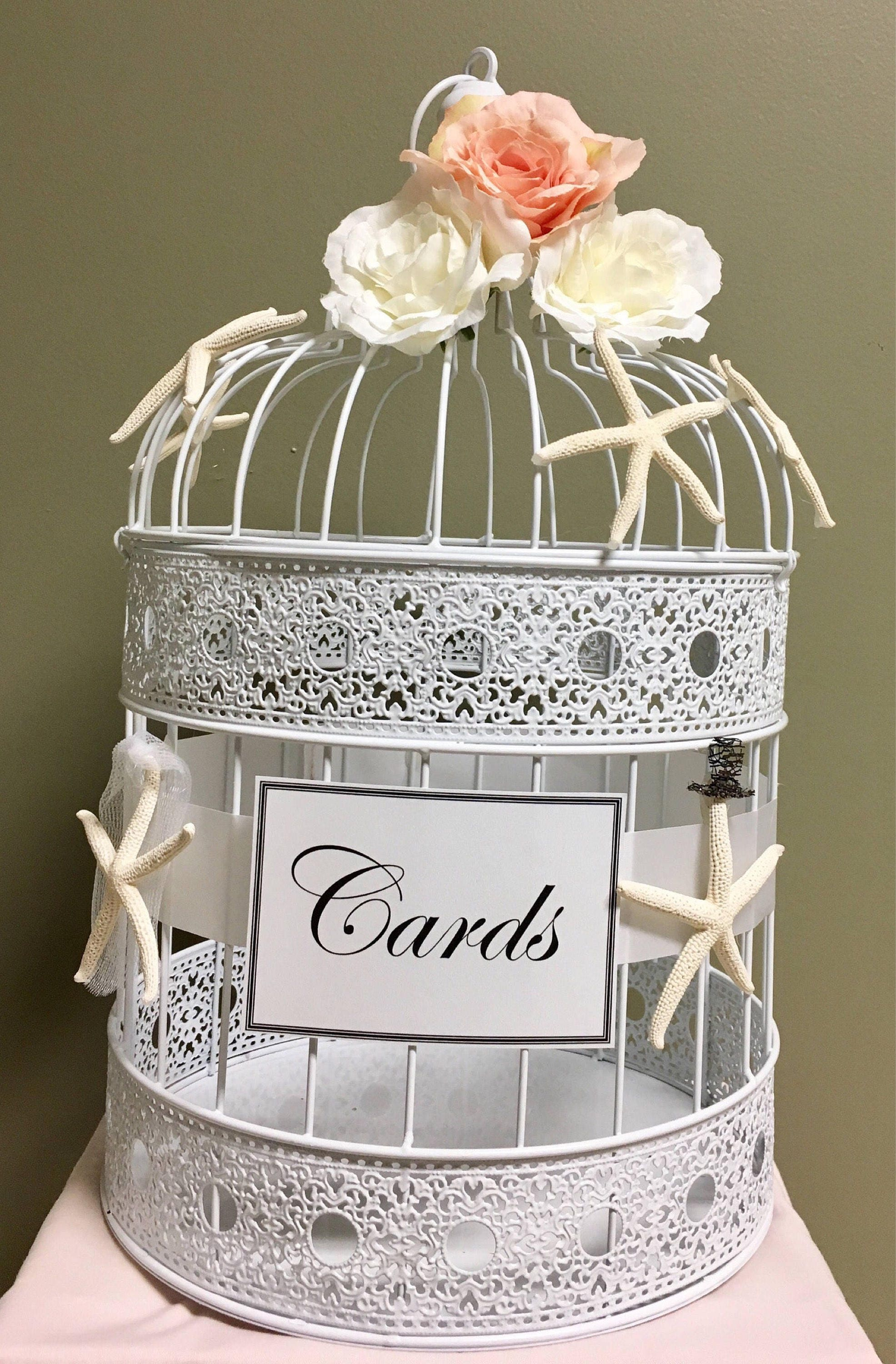 White Bird Cage Card Holder Blush Rustic Shabby Chic