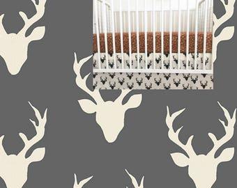 Deer Crib Skirt Straight Buck Woodland Crib Skirt Deer Buck Crib Bedding Crib Skirt Boy Girl Crib Bedding