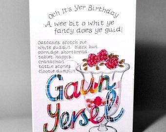 Birthday 'Gaun Yersel' Cranachan Card WWBI81