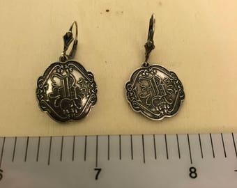Sale Shamrock Sterling Silver B Monogram Irish Earrings