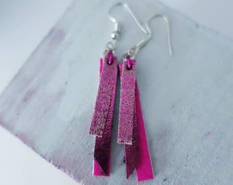 Hot Pink & Black Leather Earrings (medium)