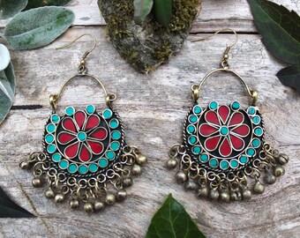 Indian brass earrings, tribal earrings, ethnic earrings, bohemian earrings, boho jewellery, ethnic jewellery, bellydance, statement earrings
