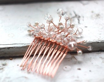 Rose gold hair comb wedding comb bridal hair piece bridal headpiece pearl hair comb crystal hair comb wedding Bridal comb bridal hair comb