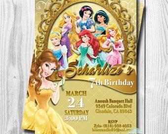 Princess Belle Invitation, Disney Princess Invitations, Princess Belle Birthday Invitation, Princess Invitation, DIGITAL or PRINTED