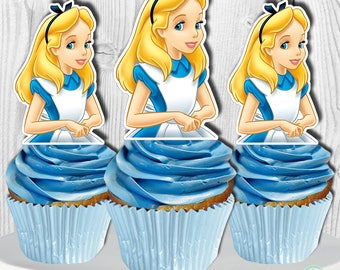 Alice in Wonderland Cupcake Toppers, Alice in Wonderland Cupcake Picks, Alice in Wonderland Cake Toppers, Digital File, You Print