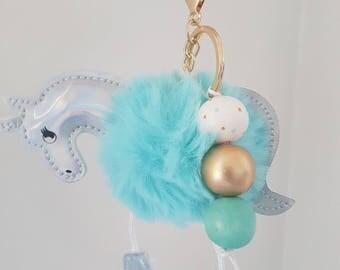Fluffy Wooden Bead Unicorn Keyring - Bag Charm