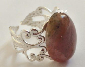 Rhodochrosite ring, stone of protection against jealousy, 13x18mm ring adjustable 19mm