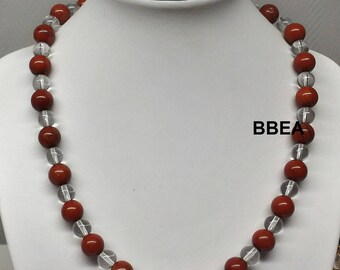 Red Jasper necklace, stone reproduction beads 8 mm and 6mm rock crystal.