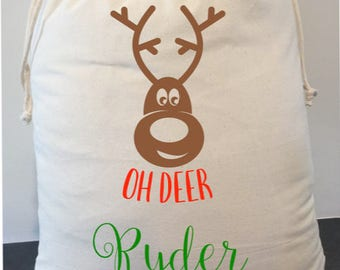 personalised santa sack 40cm x 50cm  We will upgrade your shipping to express at no extra cost
