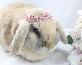 Pink Rhinestone Crown / Pink crown for rabbits, dogs and small pets