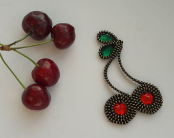 Cherry brooch Fruit brooch Unique brooch Zipper brooch Handmade jewelry Zipper jewelry Fruit jewelry Handmade gift