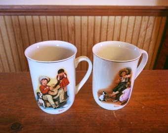 Vintage set of two Norman Rockwell mugs, Sour Note and The Music Maker mugs, 1981 Norman Rockwell collectible mugs