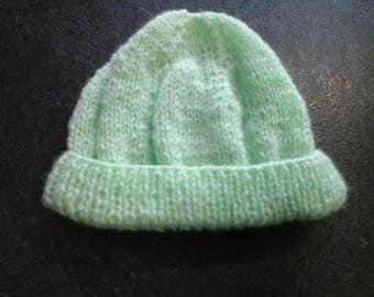 Green size newborn baby bonnet