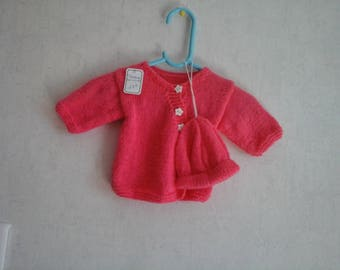 bright pink premature size baby Cardigan and hat