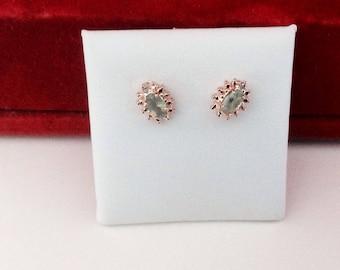 Alexandrite Diamond Earrings 14KT