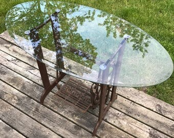 Singer Sewing Machine table with Oval Glass Top