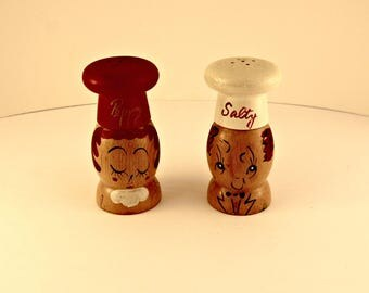 Salty and Peppy Vintage Wooden Salt and Pepper Shakers Very Good Condition
