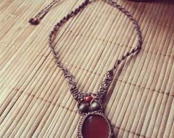 Macrame with red garnet stone necklace