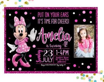 Minnie Mouse Invitation, Minnie Mouse Birthday Invitation, Girls Birthday Invitation,