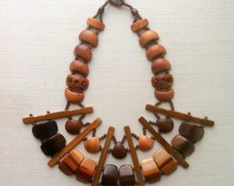 Designer wooden and bamboo bulk bib necklace ooak