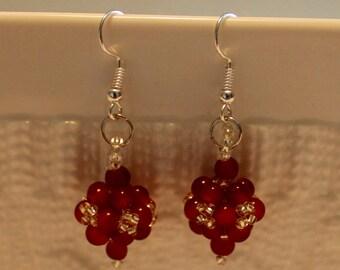 Cute Czech crystal -ball earrings; beadweaving, handmade, Dangle & drop, brown