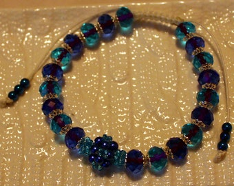 Beautiful Glass & Pearl-beaded bracelet in two hues of blue; handmade, shamballa, beadweaving, cute, casual-wear, party-wear