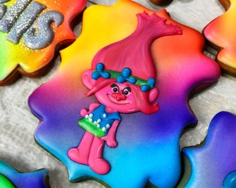 TROLLS cookies/ Trolls party favors/ Trolls Birthday/ Trolls Diamond cookie/ Trolls Branch cookie/ Trolls Poppy cookie/ Trolls party