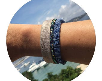 ★☆ Cuff Bracelet with fringe, boho inspired - blue, glitter and gold leather