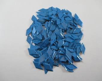 Sequin sewing shape diamond, blue color.