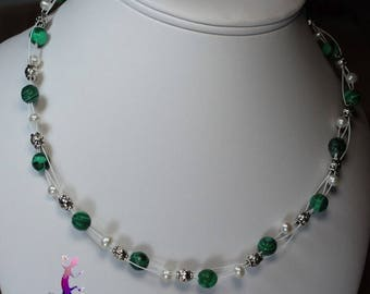 """""""Kinké"""" braided necklace with faceted malachite beads and white freshwater pearls"""