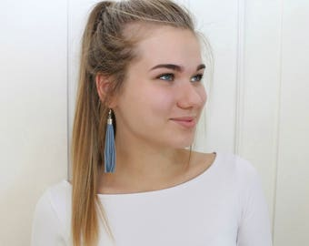 Dark blue leather tassel earrings, tassel with silver colour elements
