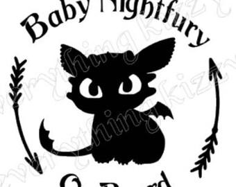 Baby Nightfury on board Car Decal How to train your dragon
