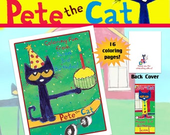 Pete the Cat Coloring Book with Crayons/Birthday Party Favor/Personalized Favors