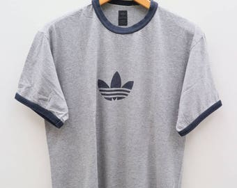 Vintage ADIDAS Trefoil Small Logo Sportswear Gray Tee T Shirt Size 95