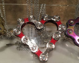 Bike chain heart necklace