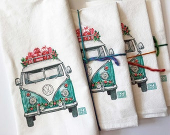 Christmas VW Bus tea towel, Watercolor Volkswagen Flour Sack Printed Cotton Dish Cloth, Kitchen towel, Christmas Tea Towel,Hostest gift