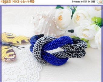 Sale Christmas gift for her Woman beaded bracelet Blue roll bracelet Statement boho jewelry Rope grey bracelet Women day gift