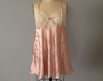 PEACH PINK slip dress | criss cross back slip dress | floral mesh lace slip