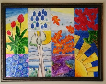 """Original Glass Painting, 36 """" inches x 48"""" inches, Title """" FOUR SEASON"""""""
