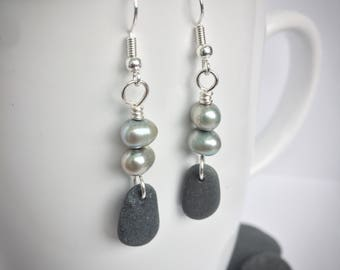 Lake Superior stone and fresh water pearl earrings, stone earrings, beach rock earrings, fresh water pearl earrings, natural stone earrings
