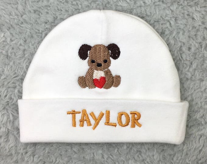 Monogrammed baby hat with puppy - personalized preemie hat, newborn hat - NICU clothes, baby shower gift newborn pictures, going home outfit